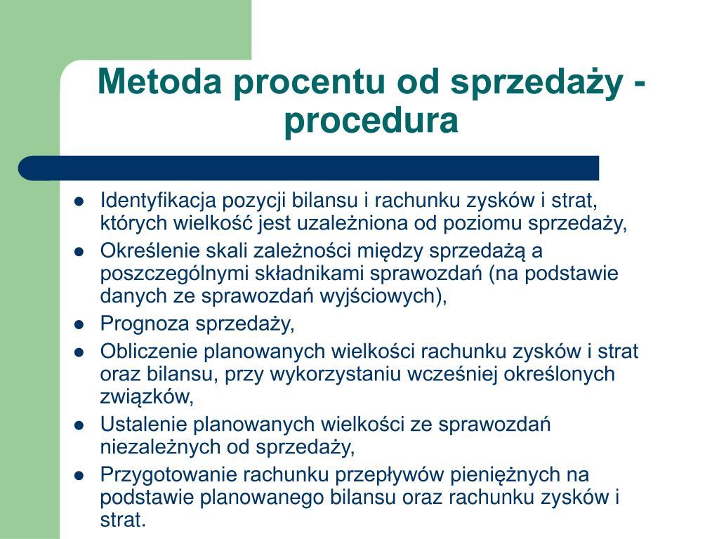 Metoda procentu od sprzedaży - procedura