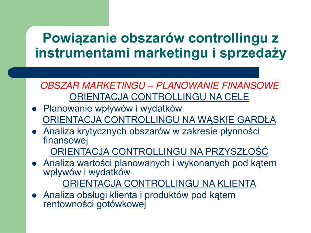 Powiązanie obszarów controllingu z instrumentami marketingu i sprzedaży