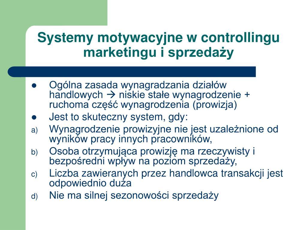 Systemy motywacyjne w controllingu marketingu i sprzedaży