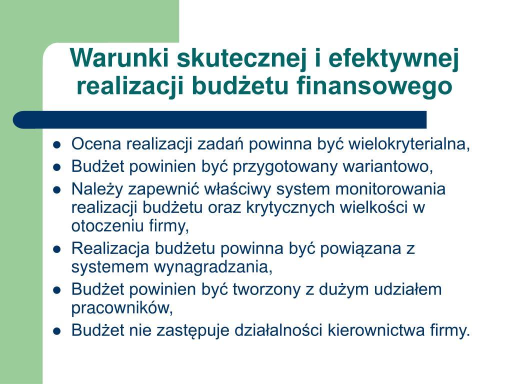 Warunki skutecznej i efektywnej realizacji budżetu finansowego