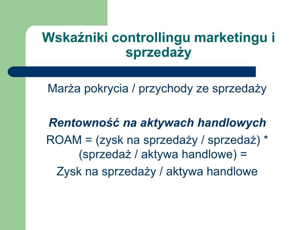 Wskaźniki controllingu marketingu i sprzedaży