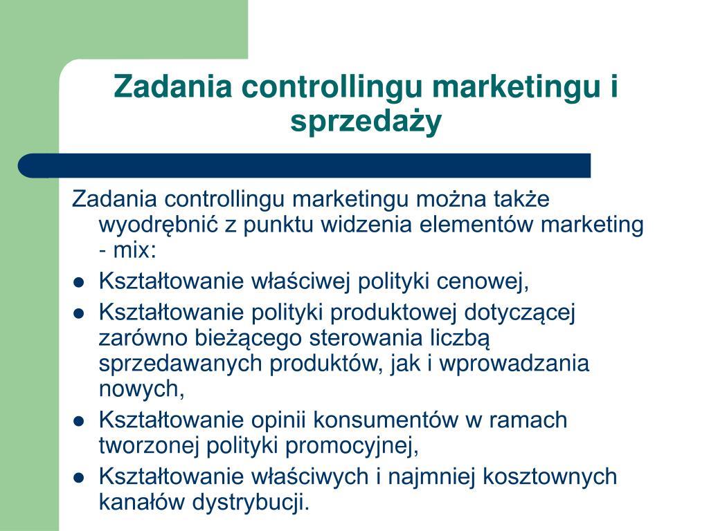 Zadania controllingu marketingu i sprzedaży