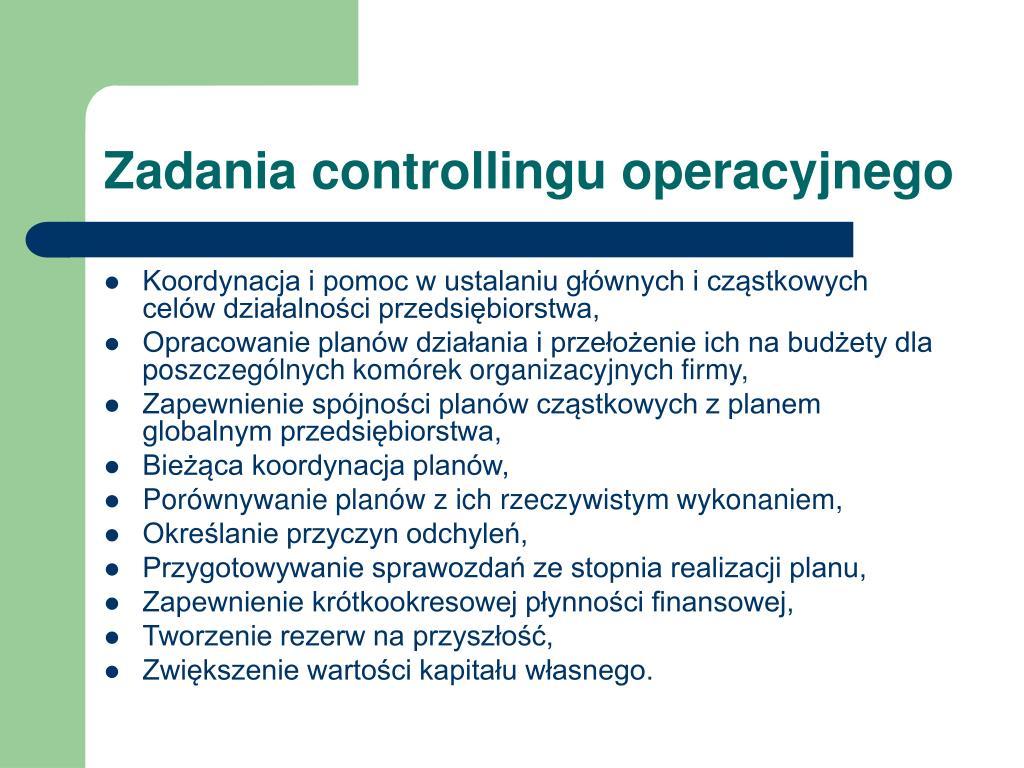 Zadania controllingu operacyjnego