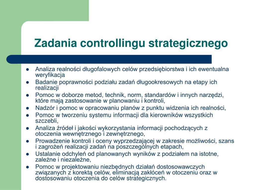 Zadania controllingu strategicznego