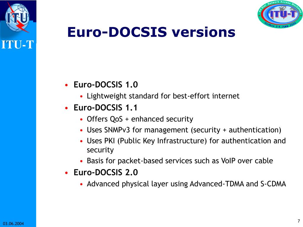 Euro-DOCSIS versions