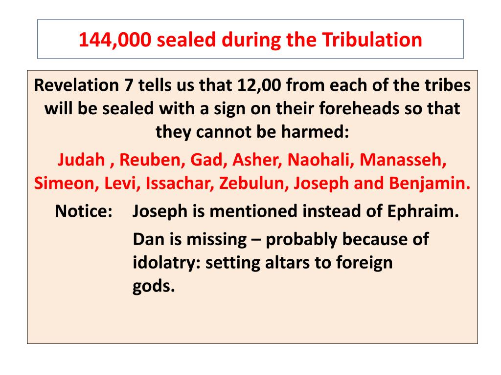 144,000 sealed during the Tribulation