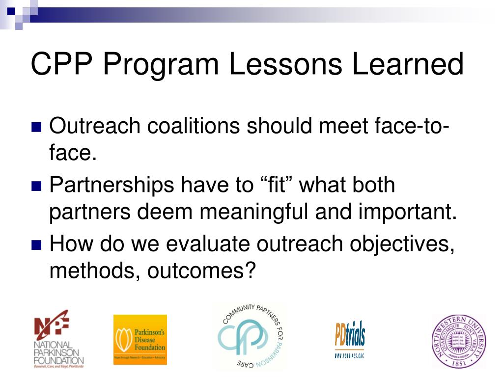CPP Program Lessons Learned