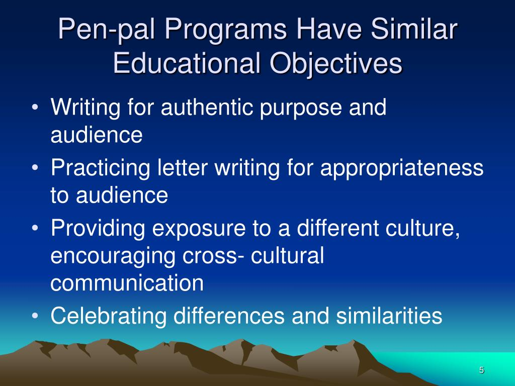 Pen-pal Programs Have Similar Educational Objectives