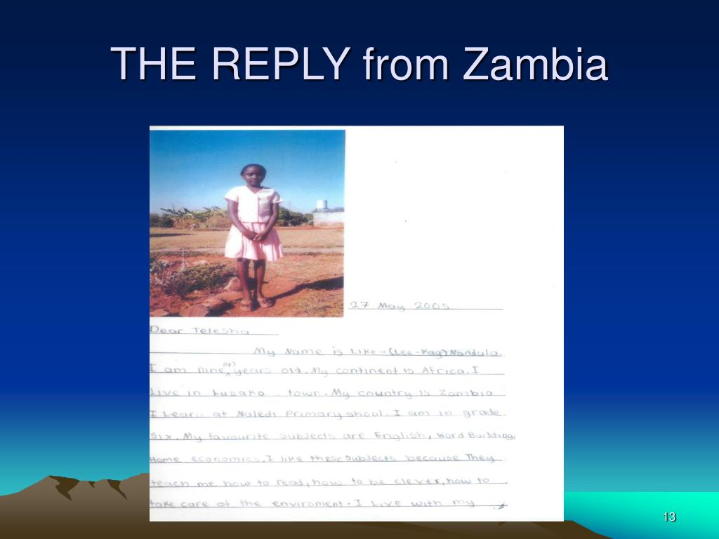 THE REPLY from Zambia