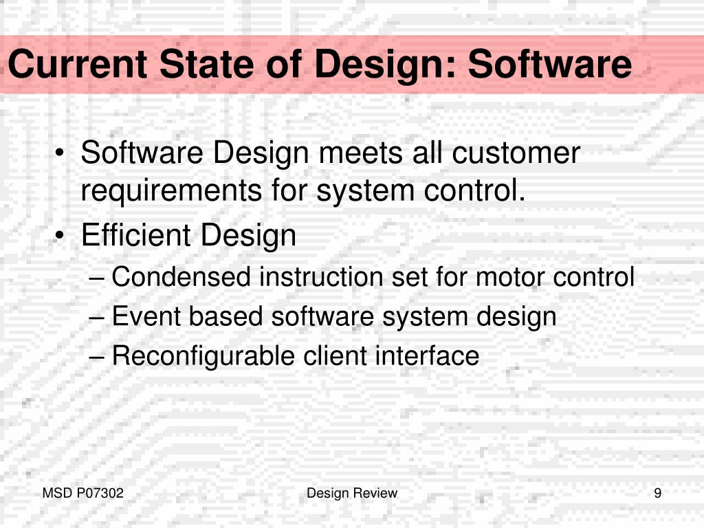 Current State of Design: Software