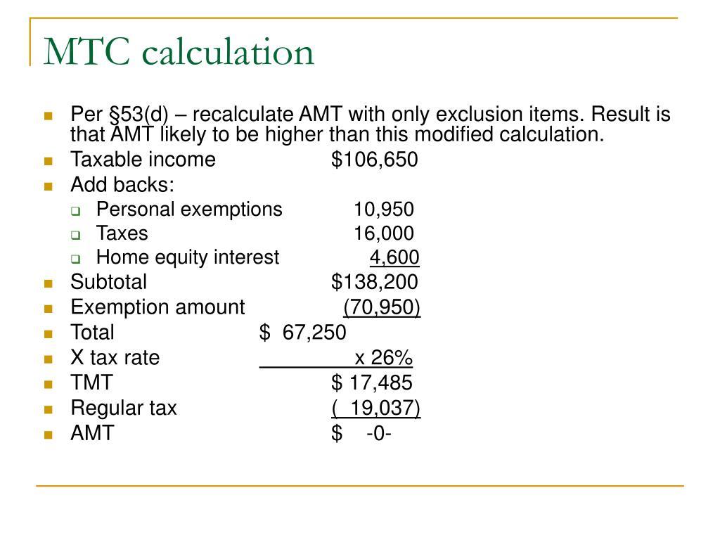 MTC calculation