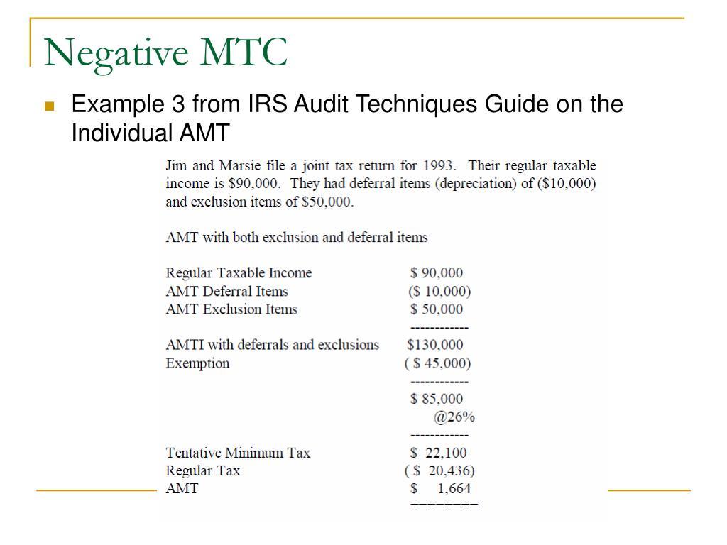 Negative MTC