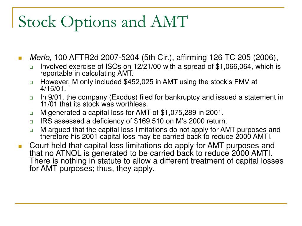Stock Options and AMT