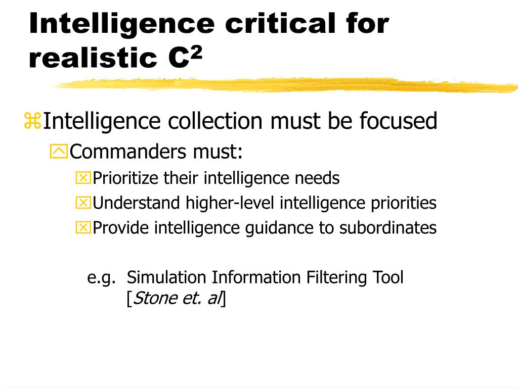 Intelligence critical for realistic C