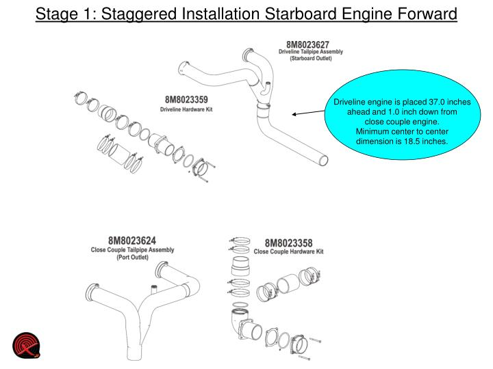 Stage 1 staggered installation starboard engine forward