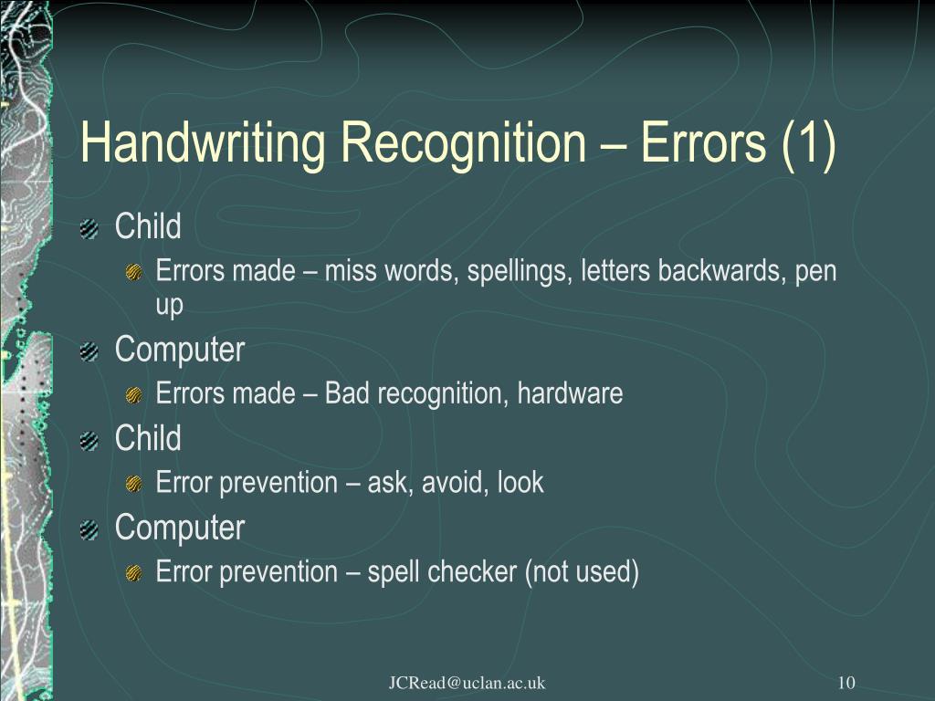Handwriting Recognition – Errors (1)