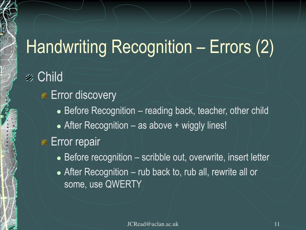 Handwriting Recognition – Errors (2)