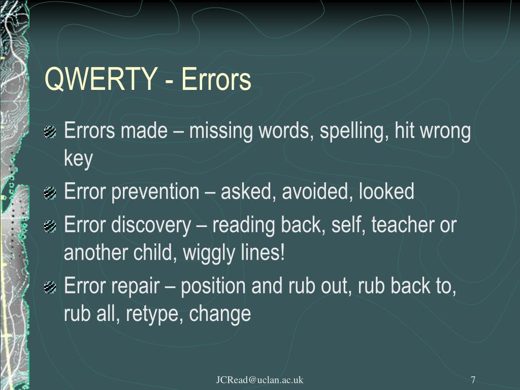 QWERTY - Errors