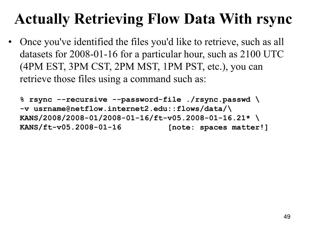 Actually Retrieving Flow Data With rsync