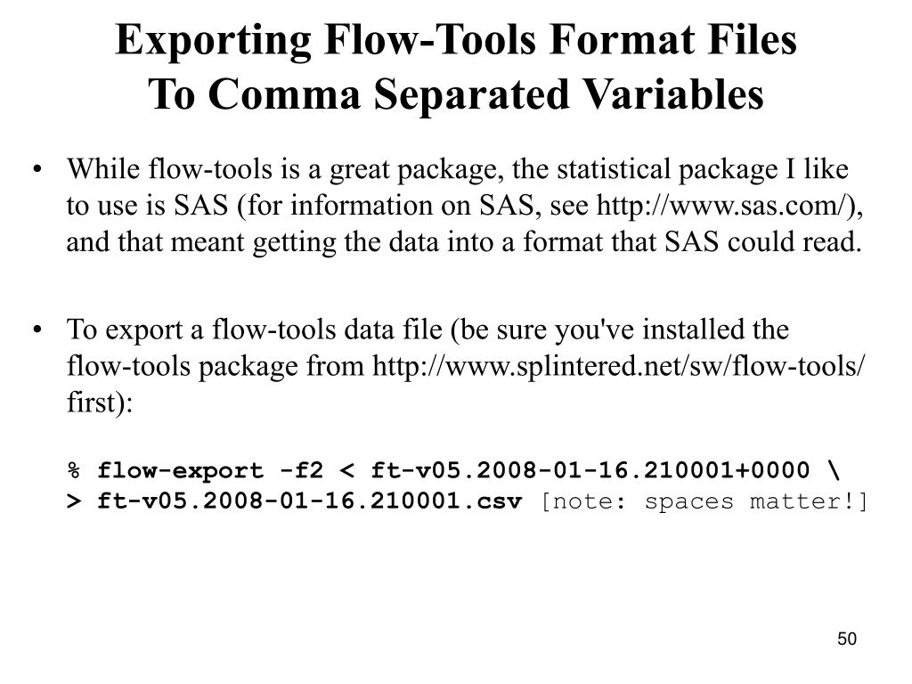 Exporting Flow-Tools Format Files