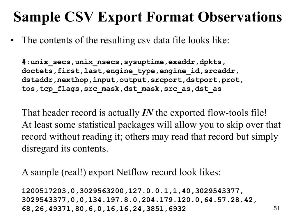 Sample CSV Export Format Observations