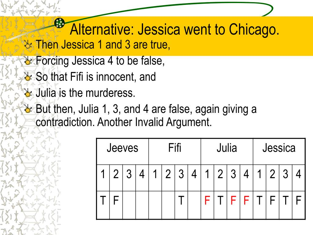 Alternative: Jessica went to Chicago.