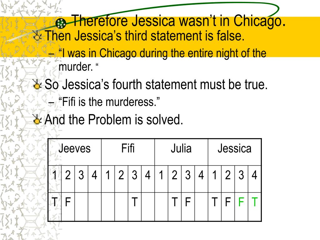 Therefore Jessica wasn't in Chicago