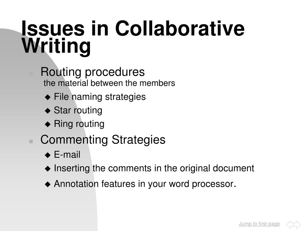 Issues in Collaborative Writing
