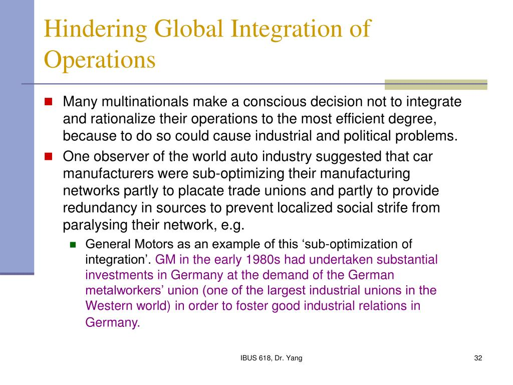 Hindering Global Integration of Operations