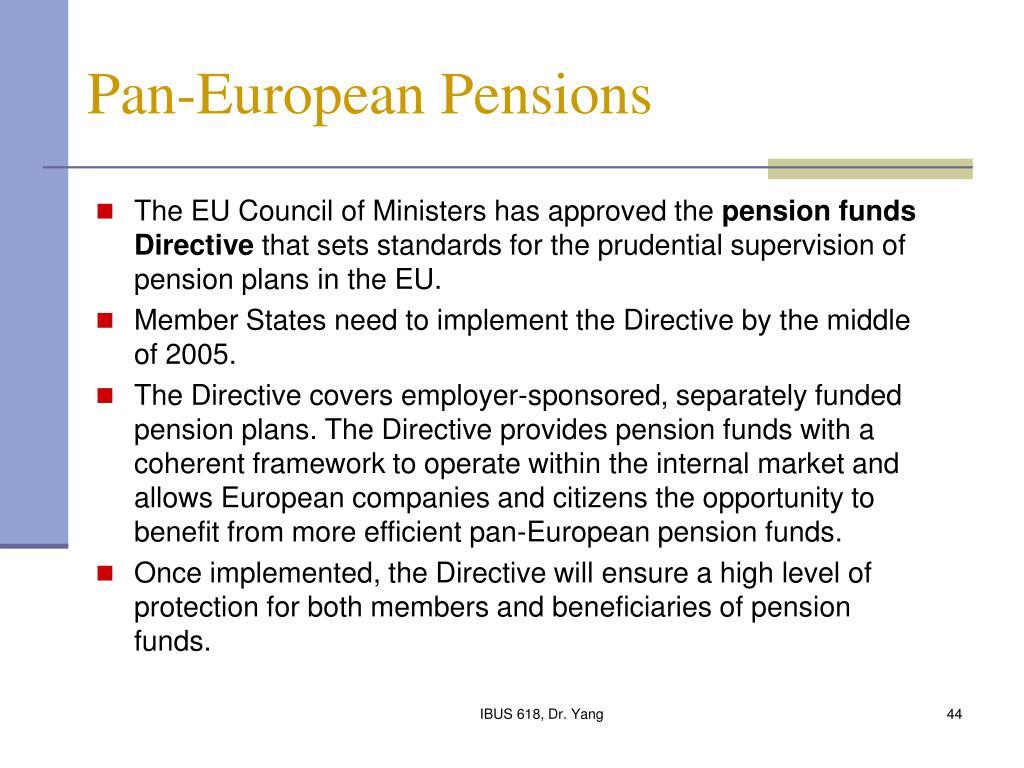 Pan-European Pensions