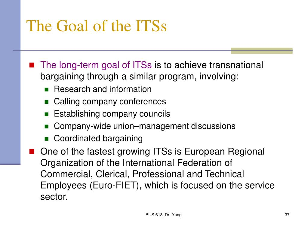 The Goal of the ITSs