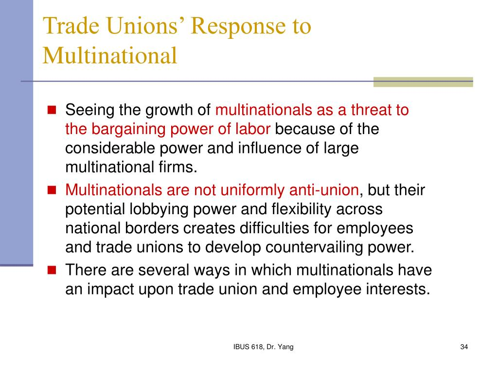 Trade Unions' Response to  Multinational