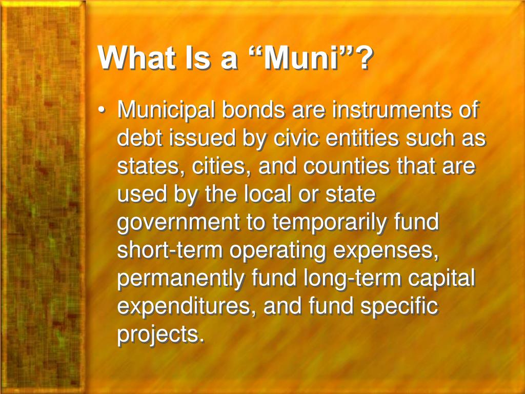 "What Is a ""Muni""?"