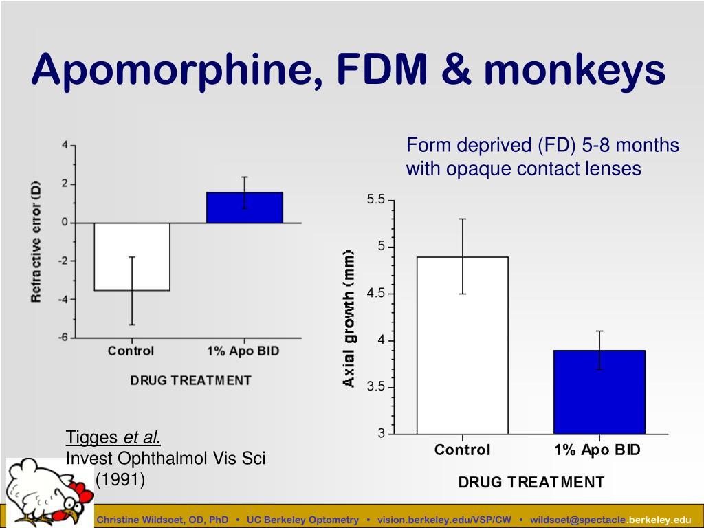 Apomorphine, FDM & monkeys