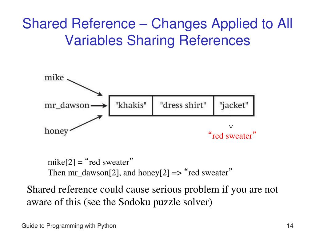 python give changing by just reference