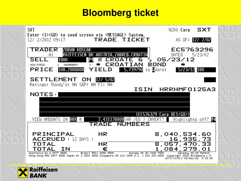 Bloomberg ticket