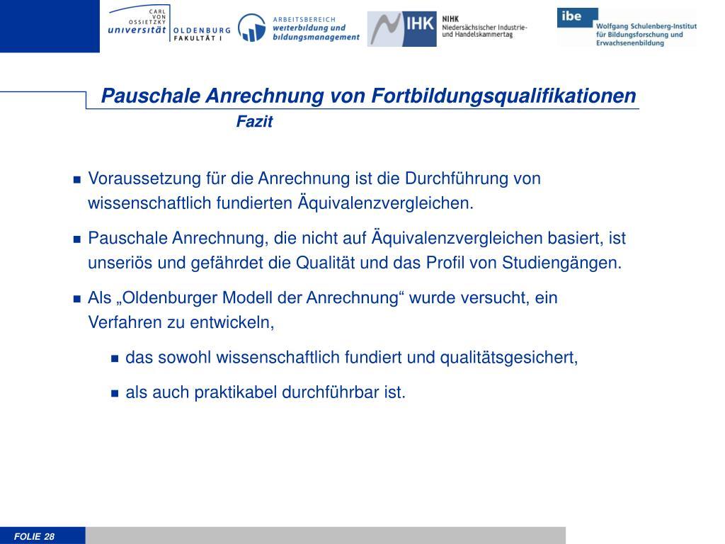 Pauschale Anrechnung von Fortbildungsqualifikationen