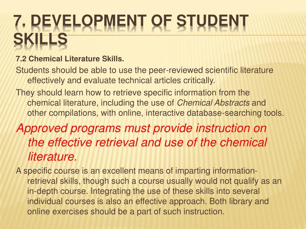 7.2 Chemical Literature Skills.