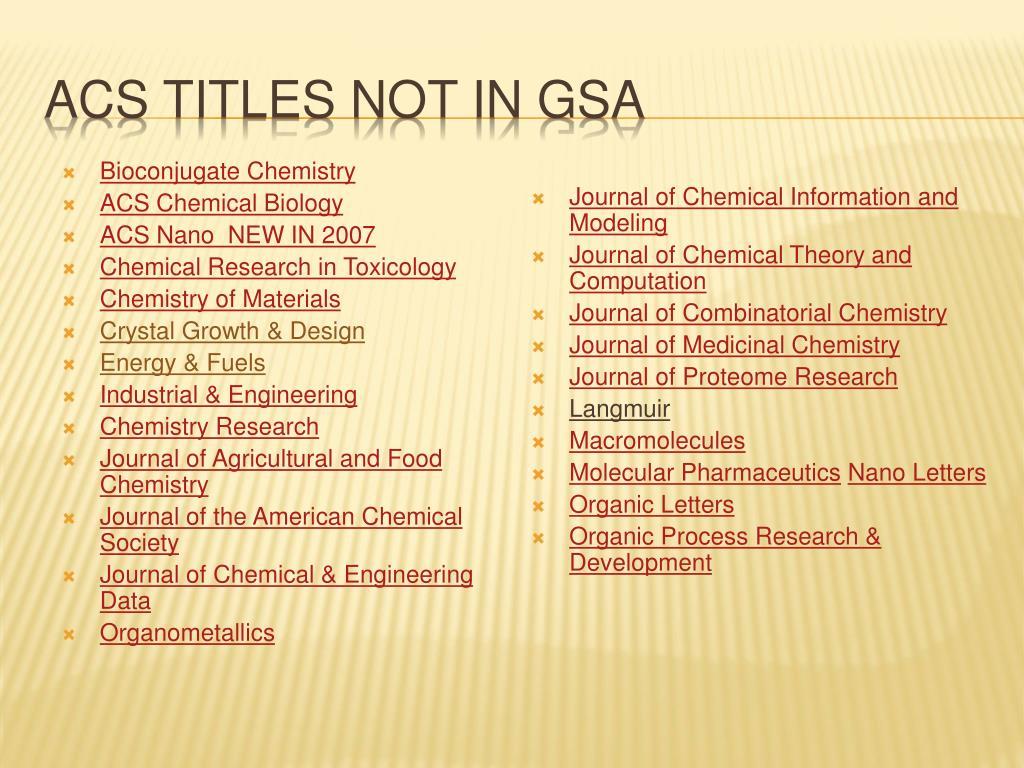 ACS titles NOT in GSA