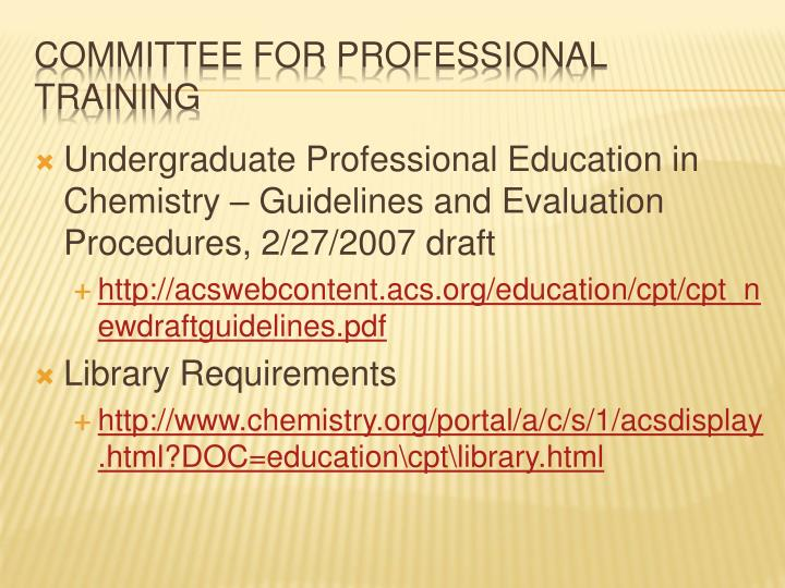 Committee for professional training