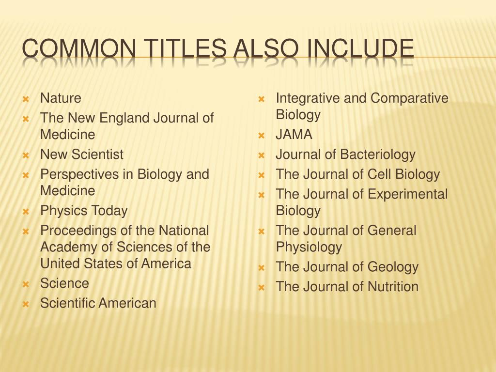 Common Titles also include