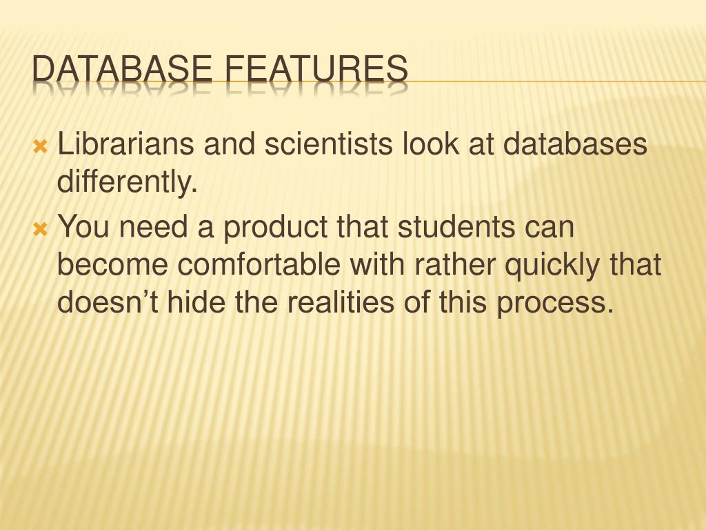 Librarians and scientists look at databases differently.