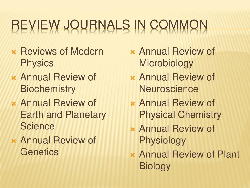 Review Journals in Common