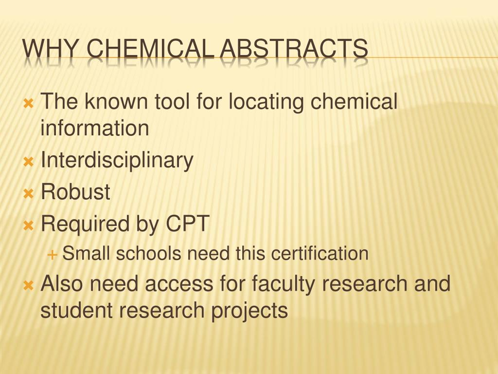 The known tool for locating chemical information