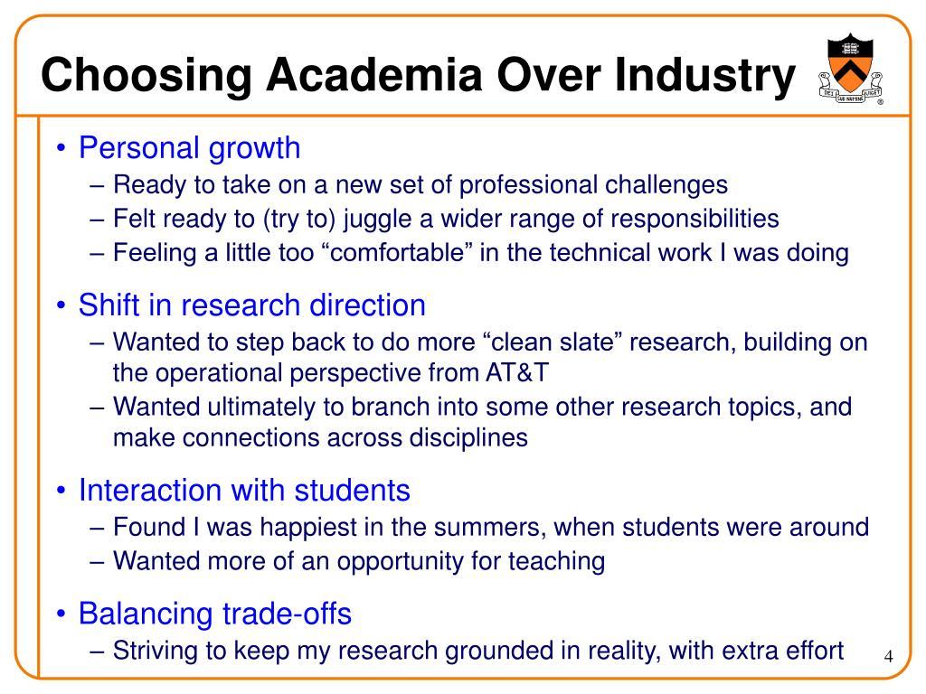 Choosing Academia Over Industry