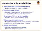 internships at industrial labs