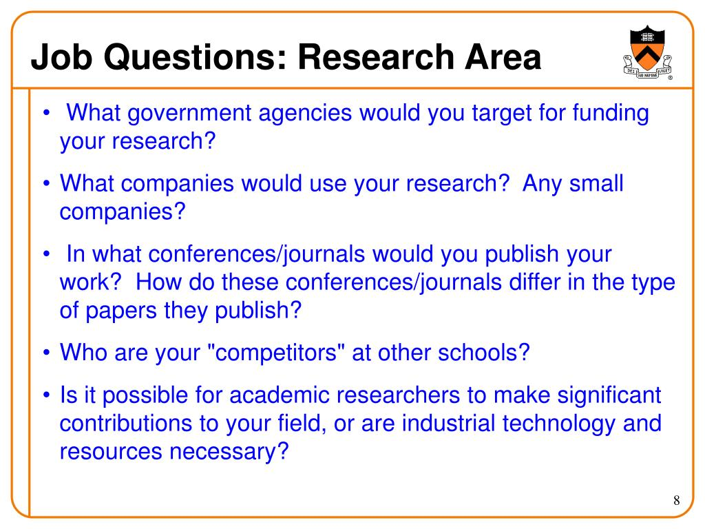 Job Questions: Research Area