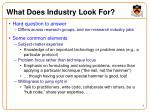 what does industry look for