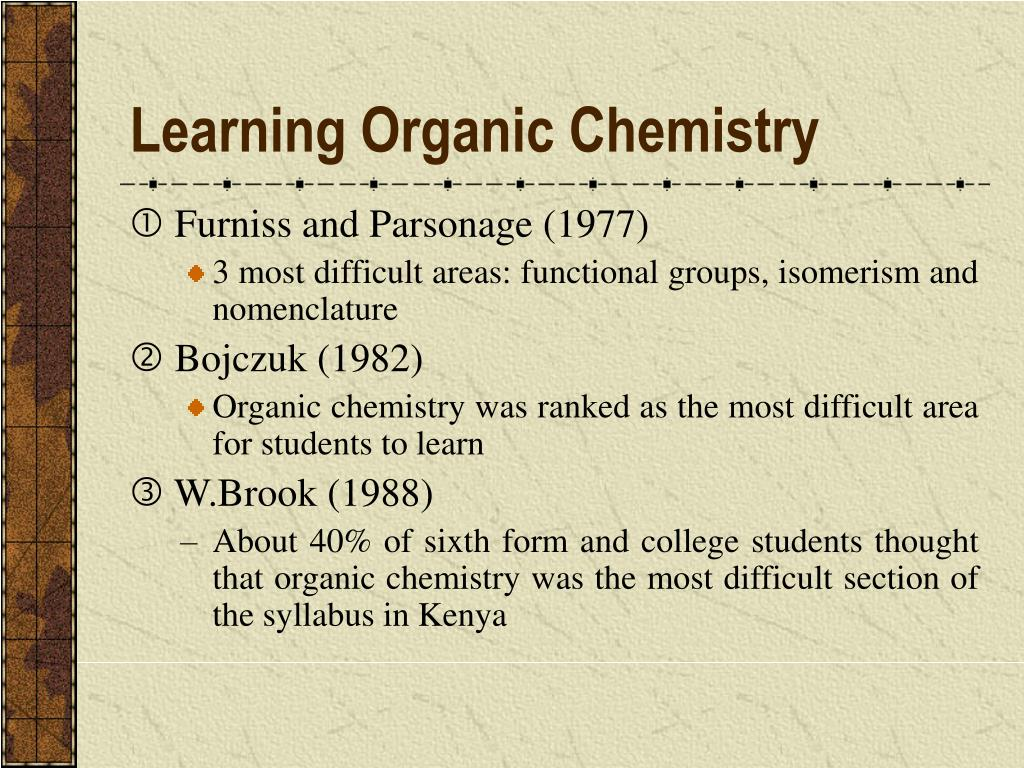 Learning Organic Chemistry