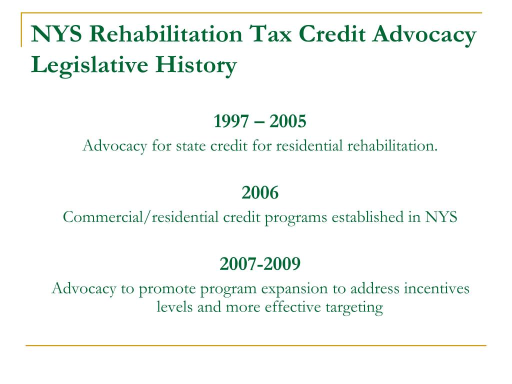 NYS Rehabilitation Tax Credit Advocacy